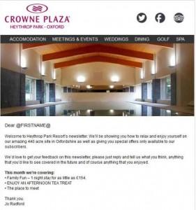 Email Design for Crowne Plaza Heythrop Park Oxford