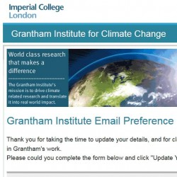 email preference pages for Grantham Institute